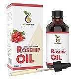 Hagebuttenöl BIO 120ml (Wildrosenöl) - 100% kaltgepresst, vegan, in Glasflasche - Hagebuttenkernöl für Gesicht, Körper, Haare, Haut, Hände, Kopfhaut