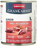animonda GranCarno Hundefutter Junior, Nassfutter für Hunde im Wachstum, Rind + Putenherzen, 6 x 800 g