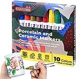 colozoo Porzellanstifte Spülmaschinenfest   10 leuchtende Farben   Keramik Stifte inklusive Gold & Silber   Ungiftige und Vegane Farben für Kinder ab 3 Jahren