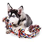 COCHIE Hundespielzeug Seil für Große Hunde, Spielzeug Hund Tau mit 4 Knoten 100CM, Unzerstörbar Interaktives Hunde Spielzeug, Kauspielzeug Zerrspielzeug Hund für Hunde Welpen Zahnreinigung, 100 cm