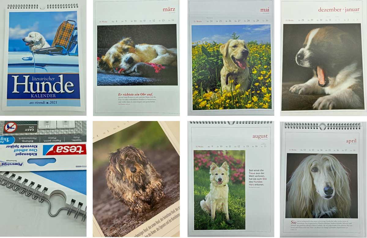 Der literarische Hundekalender 2021 - Vorschau - Collage aus einzelnen Blättern des Kalenders.