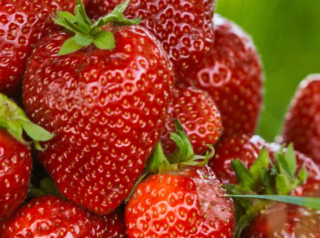 Einige Erdbeeren Nahaufnahme.