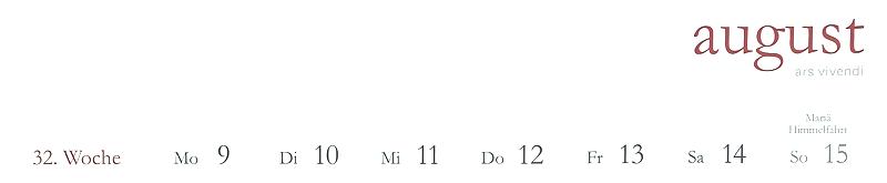 Beispiel Kalendarium, klar und deutlich. Feiertage in Deutschland (ok, dieser ist regional) und die Kalenderwoche ist zu sehen.