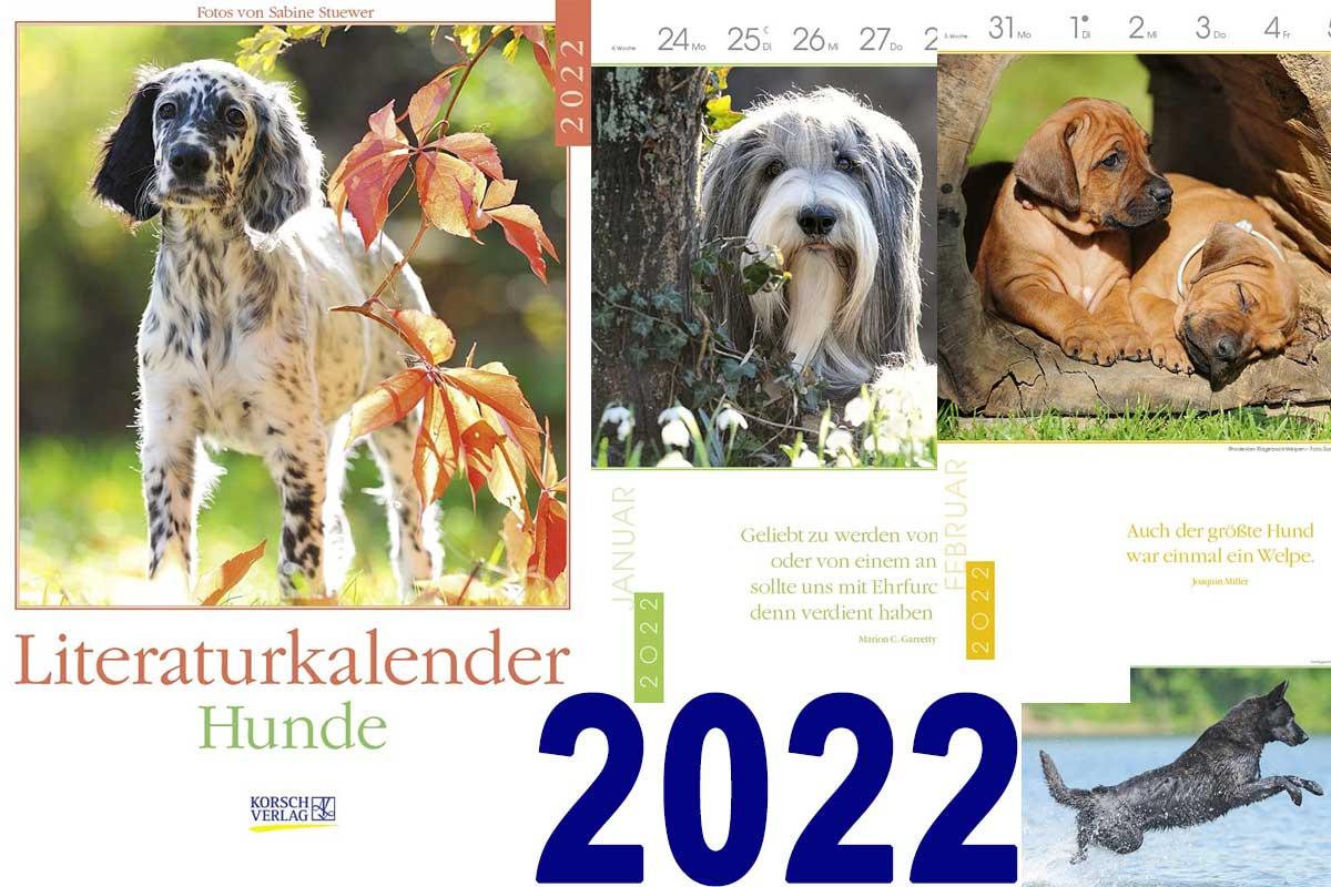 Collage aus Kalenderseiten Literaturkalender Hund 2022
