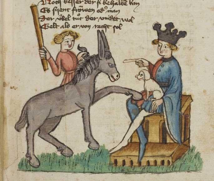 Herr mit Schoßhund. Aus dem Jahr 794.